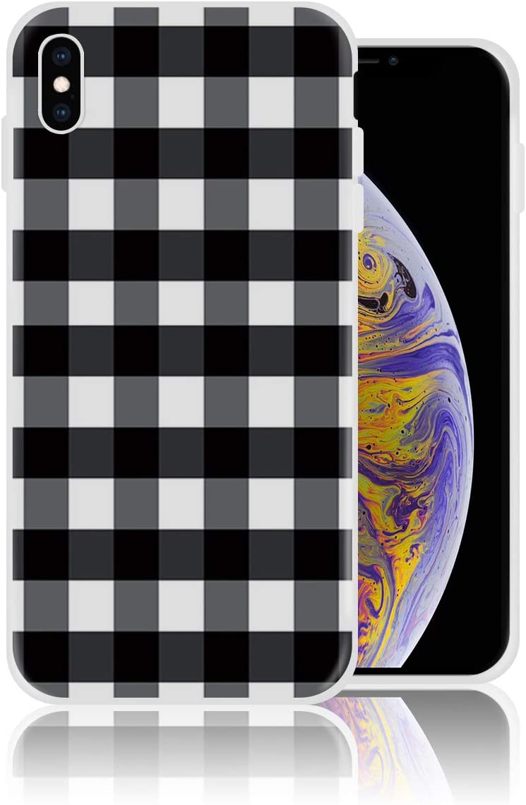 Silicone Case for iPhone Xs Max, Black and White Buffalo Plaid Personalized Design Printed Phone Case Shockproof Full Body Protection Anti-Scratch Drop Protection Cover