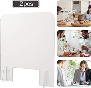 Pack of 2 Acrylic Shields- 15.7 × 18.5 Inch Clear Freestanding Counter Protection Barrier 2mm Thick Plastic Sneeze Guard for School Office Desk Food Screens Transaction Windows Sale Counters