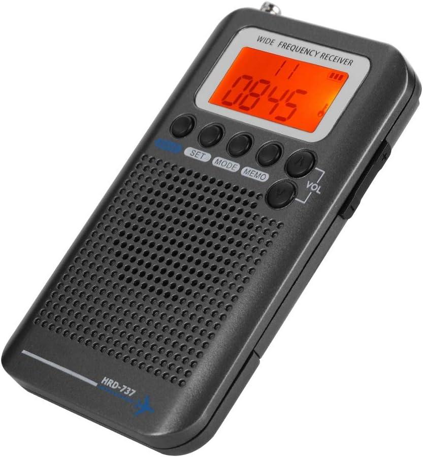 ASHATA Aircraft Band Radio Receiver Scanner VHF, Handheld,Portable Full Band Radio Recorder(Black)