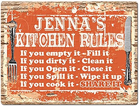 Amazon Com Welcome Jenna S Kitchen Rules Chic Tin Sign Vintage Style Retro Rustic 9 X 12 Birthday Valentine S Day Mother S Day Christmas Funny Gift For Women Home Kitchen Decor Ideas Home Kitchen