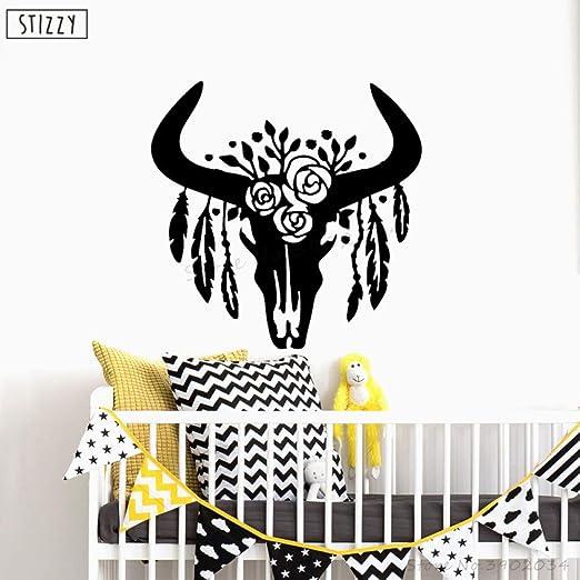 yaoxingfu Tatuajes de Pared Bull Skull with s Vinyl Wall Stickers ...