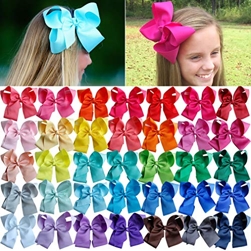 (Big Hair Bows Girls Toddler 6 inches 40 PCS Hair Clips for Girls Alligator Baby Ponytail Holder)