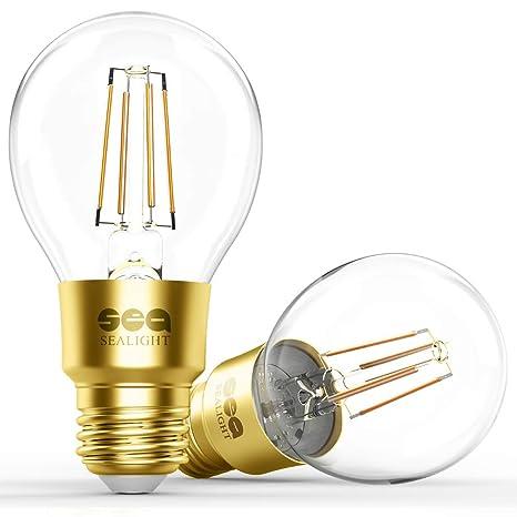 EquivalentDimmableSoft Edison RequiredWorks BulbSealight White Bulb Hub Led A19 Glass 60w 2700kNo Wifi Smart Vintage Light BdxoeCr