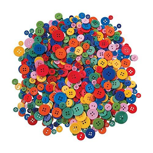 Bright Buttons (Fun Express - Rainbow Bright Plastic Craft Buttons - Craft Supplies - Scrapbooking Embellishments - Misc Scrapbooking Embellishments - 800 Pieces)