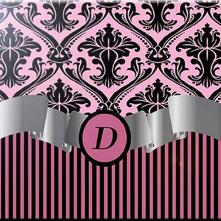 Rikki Knight 8 x 8 Letter E Light Pink Damask Stripes Monogrammed Design Ceramic Art Tile