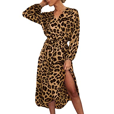 1caeac1d558e Leopard Print Dress, Women Casual Long Sleeve Split Lace Up V-Neck Long  Dresses by MEEYA at Amazon Women's Clothing store: