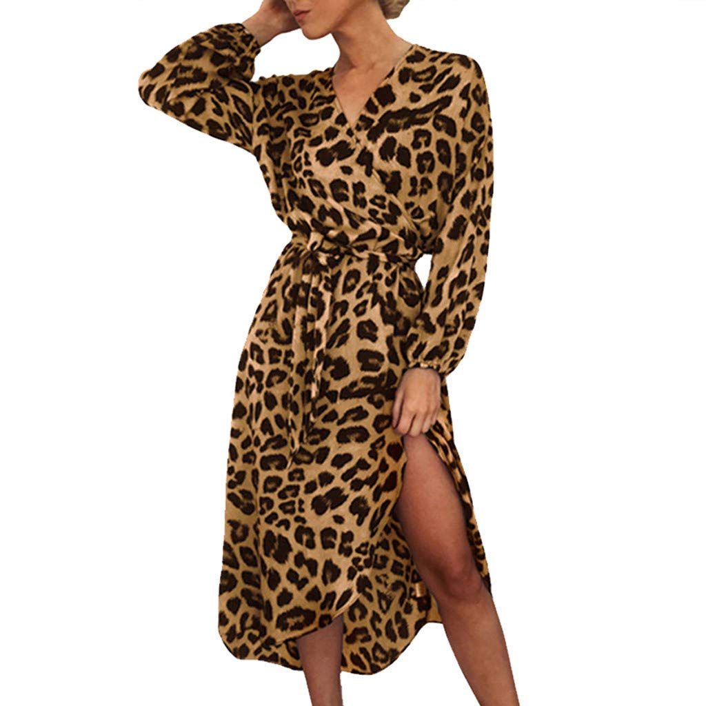 Women Leopard Print Split Dress,Mosunx Ladies Casual Long Sleeve Lace Up V-Neck Dresses (S, Brown)