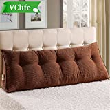 VClife Reading Pillow for Adults Kids Cotton Large Filled Triangular Wedge Cushion Sofa Bed Backrest Positioning Support Pillow with Removable Cover, 71''(L) x 8''(W) x 19.6''(H), Coffee