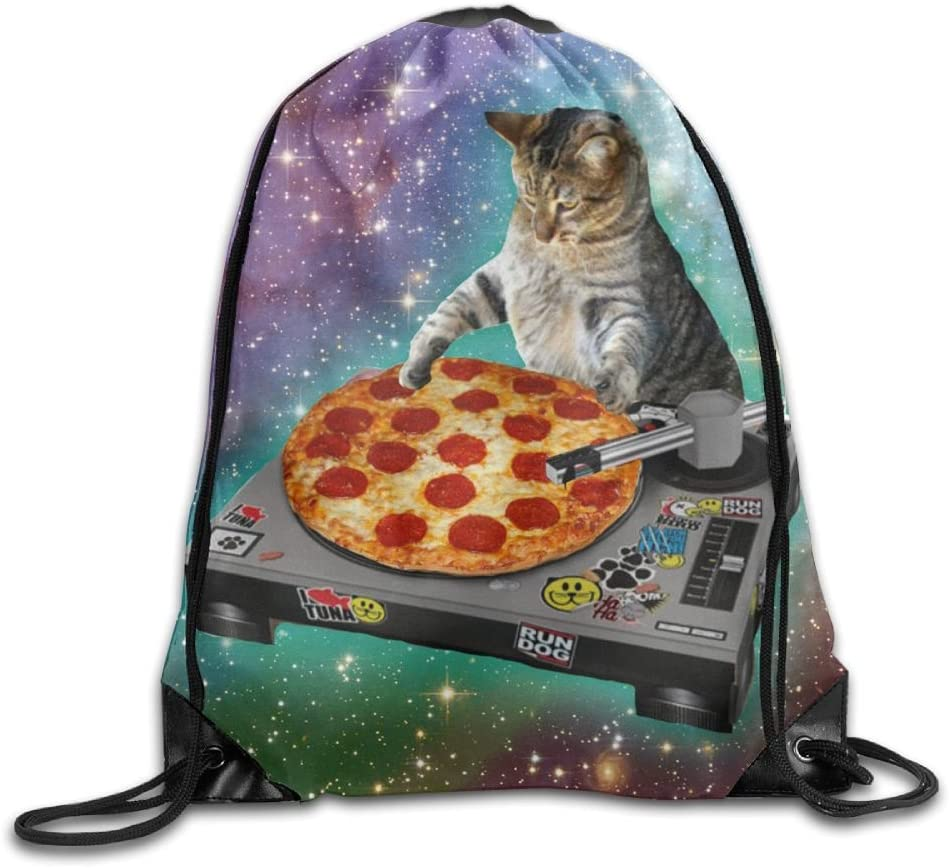 VIMUCIS Space Cat Pizza Drawstring Backpack Rucksack Shoulder Bags Training Gym Sack For Man And Women