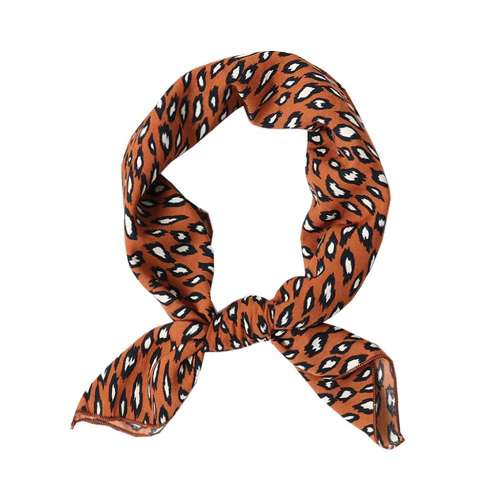 Womens 27.5'' Square Silk Like Neck Scarves Cute Leopard Print Hair Scarf (Brown)