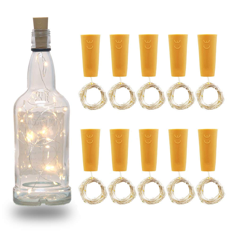 SHIYUAN 10 Pack Wine Bottle Cork Light 20 LED with Screwdriver and 6 Spare Battery Operated for Wedding Party Christmas Halloween Bar Decor