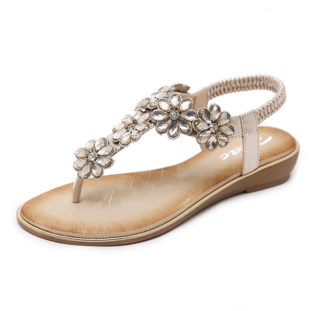 Zicac Damen Frauen Runde Clip Toe Elastische T-Strap Blume Strass Low Flache Heel Sandalen Sommer Strand Post Flip Flops Flache Schuhe  EU 39 (Asien Tag 40)|Gold