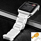 Apple Watch Replacement Wristband by BESTeck, 38mm Luxury Ceramic Link Band With Double Folding Button Clasp, Compatible With Series 1 Series 2 (Link Remover Tool Included) (White)