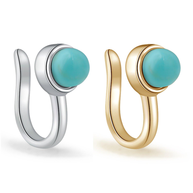 YAN & LEI Sterling Silver Fake Septum Nose Ring Hoop Non Piercing Clip On Hanger Set of 2Pcs