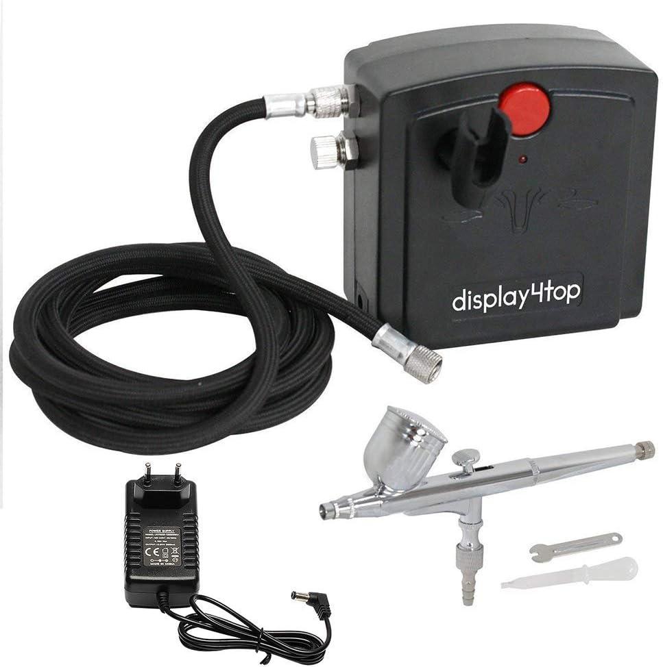Display4top Soltero-acción aerógrafo compresor conjunto de herramientas completo para la torta de inyección de tinta de impresión manía modelo (Negro)