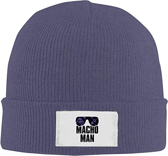 Dunpaiaa Skull Caps Macho Man Winter Warm Knit Hats Stretchy Cuff Beanie Hat Black