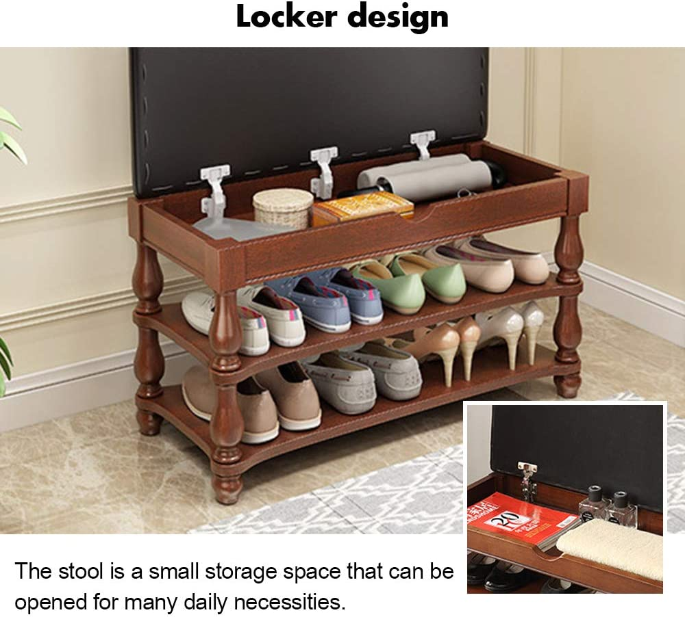 FOME Solid Wood Entryway Shoe Storage Organizer with PU Leather Cushion Padded Seat Vintage Style Shoe Wearing Bench 2 Tier Shoe Rack 1 Hidden Compartment for Entryway Living Room Shoes Bench