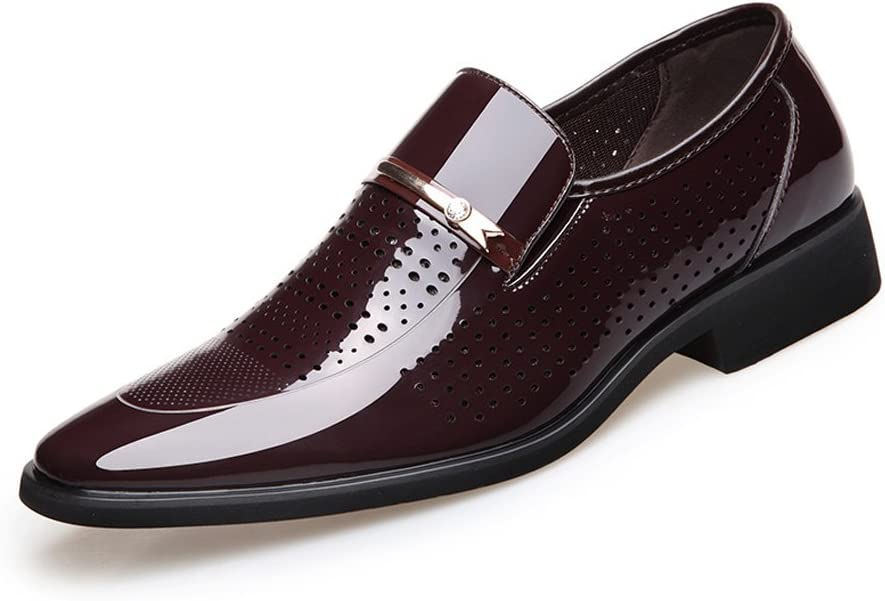 Mens Formal Business Shoes Smooth Breathable Hole PU Leather Splice Slip-on Lined Oxfords,Very Stylish Color : Black, Size : 26CM