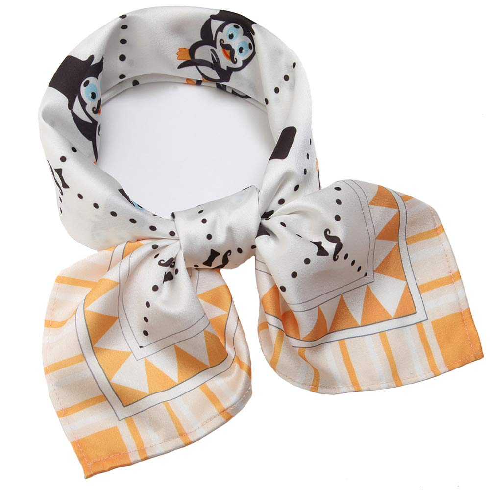Silk Like Scarf Square Satin Hair Scarf Fashion Penguin Neck Scarfs for Women 27'' x 27''