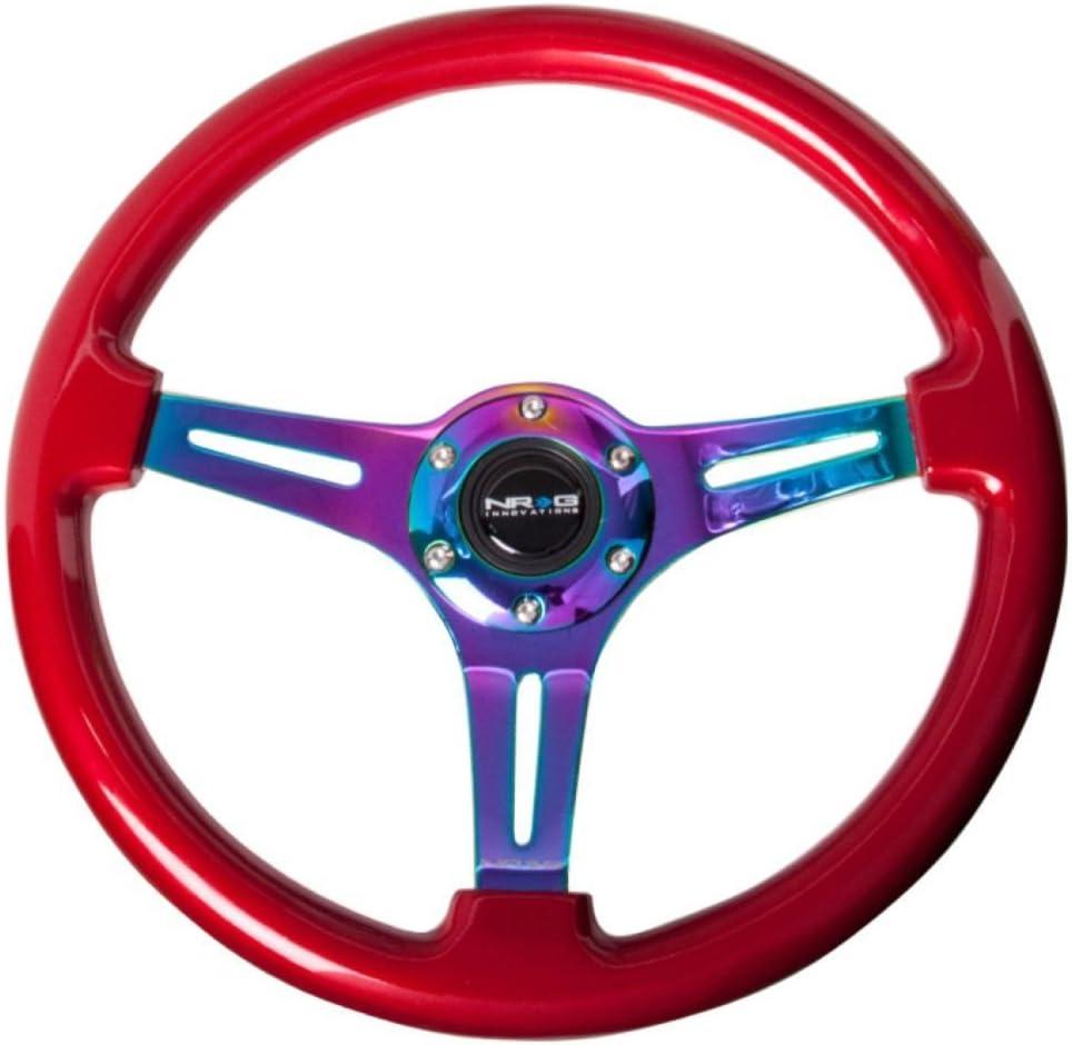 NRG Innovations ST-015MC-RD Classic Wood Grain Wheel (350mm 3 Neochrome spokes - Red grip)