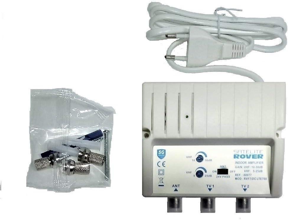 Amplificador DE Antena TV TDT para Interior ROVER 30 dB LTE DC con Filtro LTE Rechazo 5G