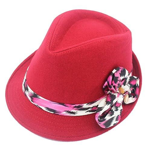 Zhuhaitf Alta calidad Autumn Winter Elegant Womens Flowers Decor Wide Brim Wool Blend Jazz Hat Cap 4...