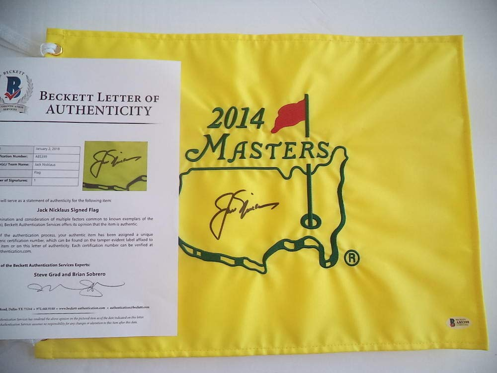 Autographed Jack Nicklaus PGA 2014 Signed Augusta Masters Flag Beckett Certified