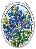 Amia Oval Suncatcher with Bluebonnet Design, Hand Painted Glass, 6-1/2-Inch by 9-Inch
