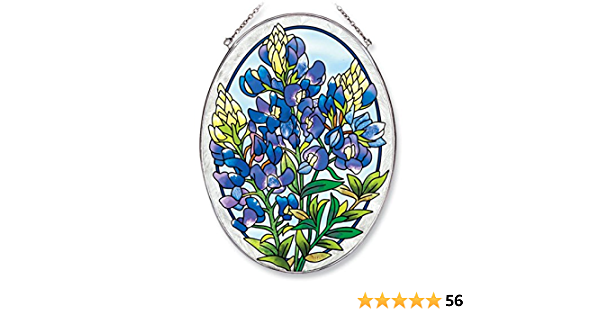6-1//2-Inch by 9-Inch Hand Painted Glass Amia Oval Suncatcher with Bluebonnet Design