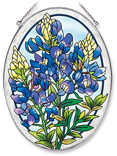 Amia Oval Suncatcher with Bluebonnet Design, Hand Painted Glass, 6-1/2-Inch by (Boxed Window Glass)