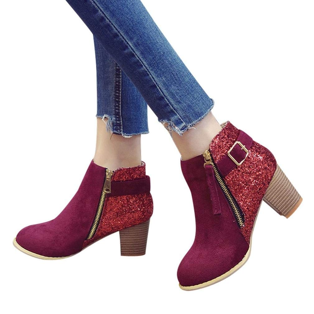 Shybuy Women's Fashion Charming Sequins Booties Casual Block Chunky Heel Faux Leather Ankle Boots