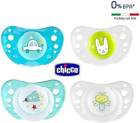 CHICCO Day & Night chupete Silicona 16-36 meses, Juedo de 4, made ...