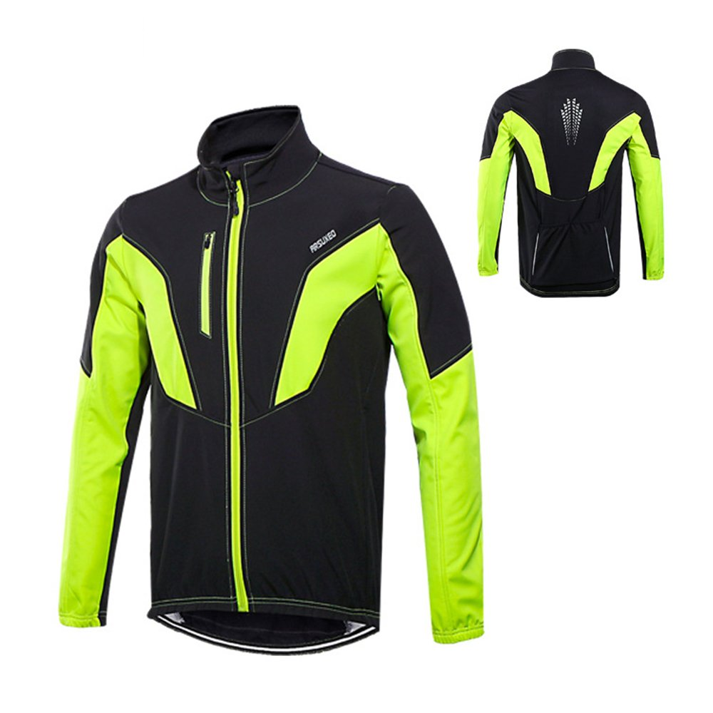 6fbaaf93e ARSUXEO Cycling Jacket Windproof Waterproof Autumn and Winter Wind and Rain  RETAINING Breathable Fleece Warm Long-Sleeved Warm UP Thermal Softshell MTB  Bike ...