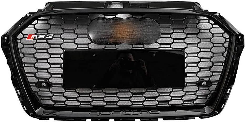 Front Sport Hex Mesh Honeycomb Hood Grill f/ür AUDI A3 K/ühlergrill /Ändern AUDI RS3 High Guality Grill Gloss Black Grille 2017 2018 2019