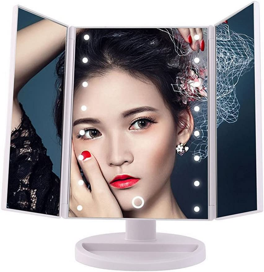 MALLCROWN 16 Led Light Makeup Mirror,180 Degree LED Table Makeup Mirror,Tabletop Adjustable Lighted Cosmetic Mirrors Tri-Fold Lighted with Led Touch Screen
