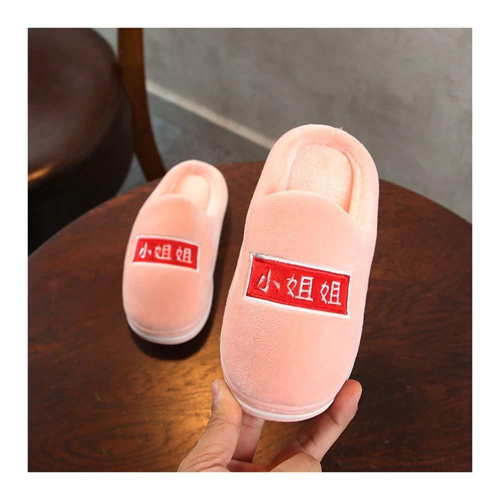 GAOHUI Slippers Niños Invierno Térmico Antideslizante Terciopelo Artificial Zapatillas Cute Letras Costura Zapatos: Amazon.es: Deportes y aire libre