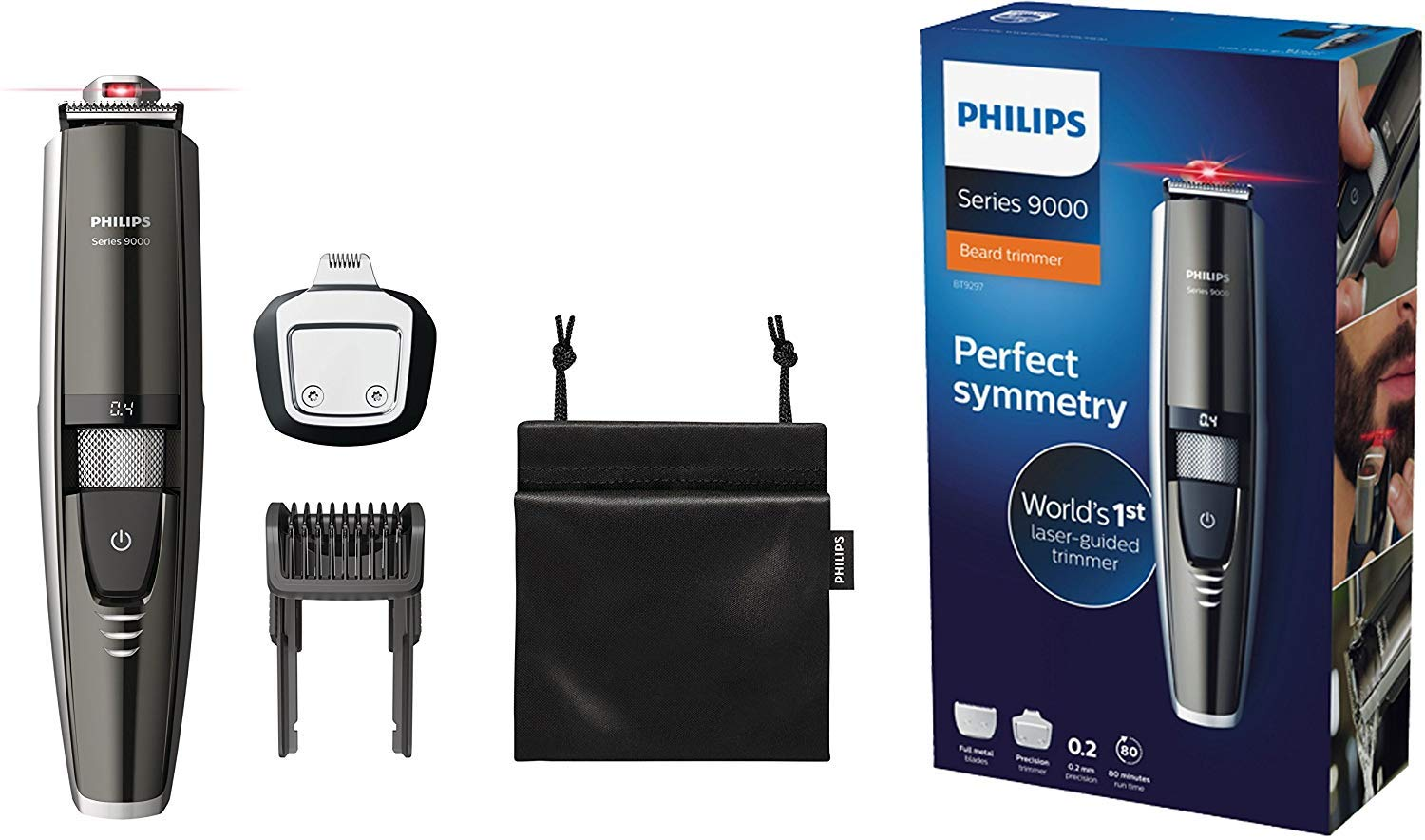 Philips Beard Trimmer Series 9000 with Laser Guide for Accurate Trim BT9297