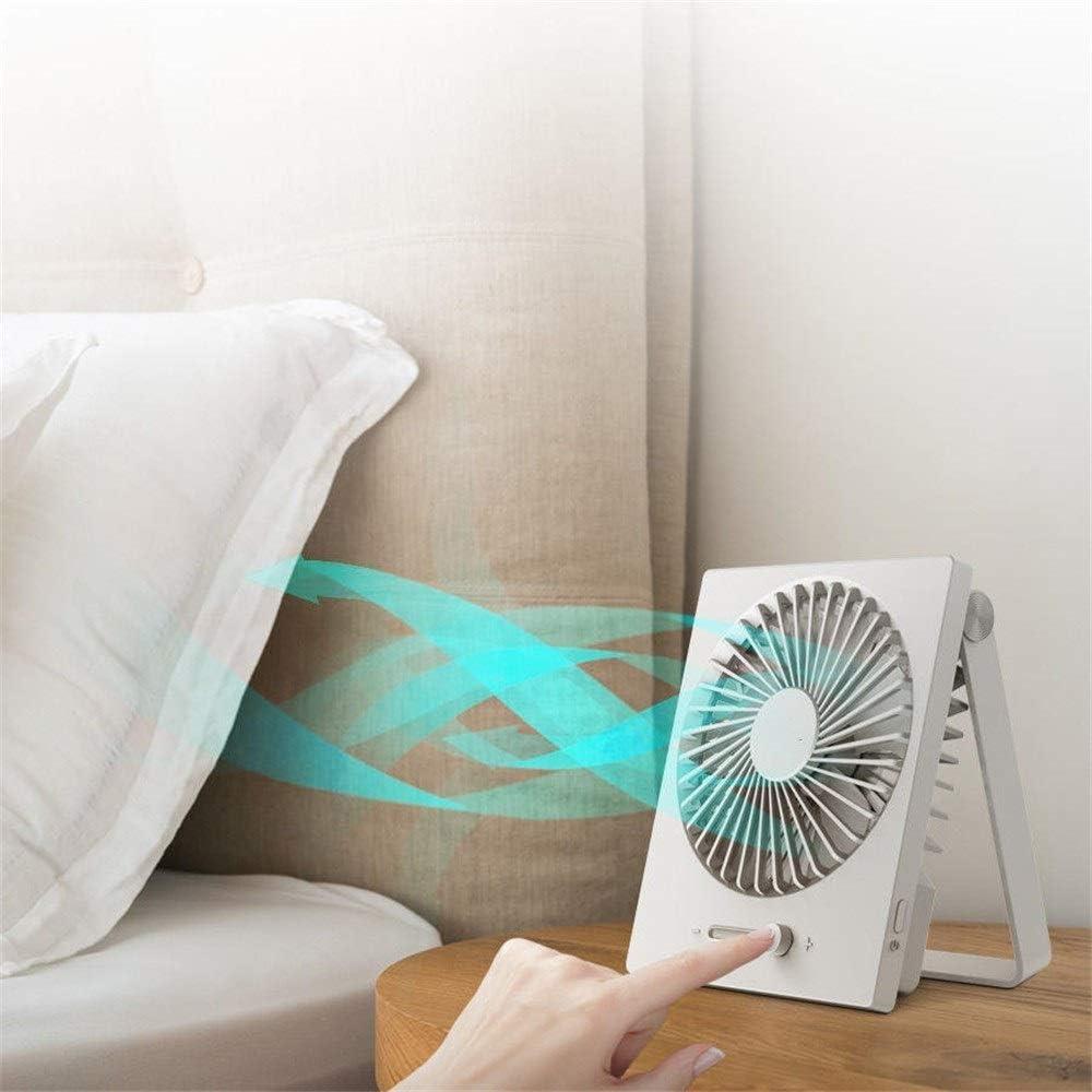 Monkibag USB Desk Fan USB Rechargeable Folding Mini Fan Wind Cooler 2000mAh Outdoor Travel Color : White, Size : One Size