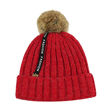 Amazon.com   Inkach Baby Winter Warm Knit Hat Hairball Toddler Kids ... af9c12ab9fc