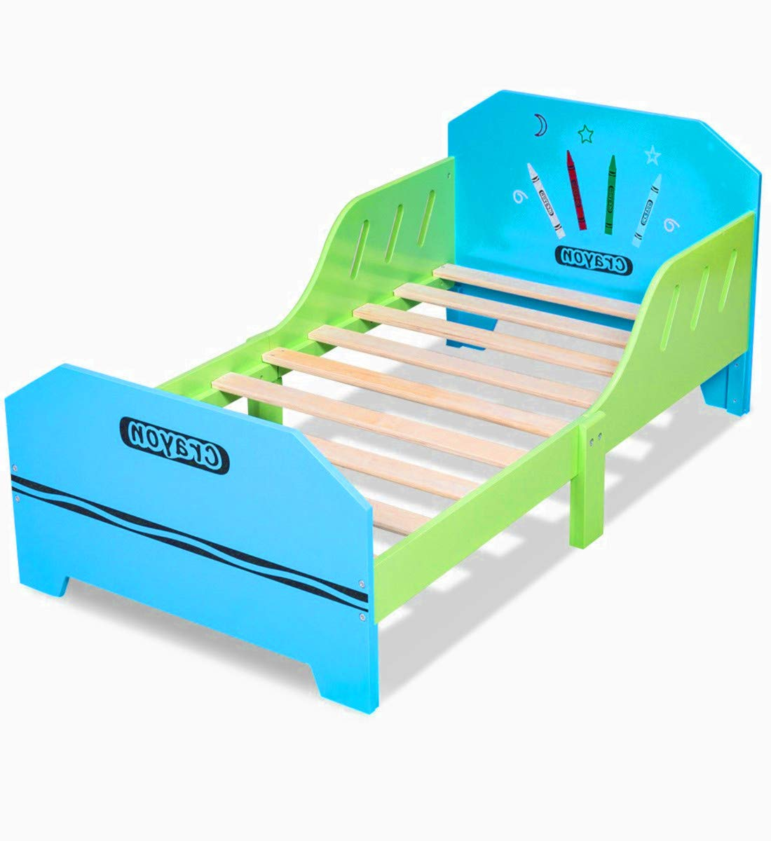 Colored Bed Frame for Kids Wooden Frame Toddler Low Rail Large Decor Room Boys Girls Bed & Ebook by AllTim3Shopping.