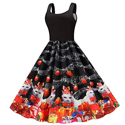 Sttech1 Evening Party Dress for Womens, Valentines Day Cat Printed Sleeveless Swing Dresses: Clothing