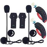 FreedConn Motorrad-Headset mit Lenker-Fernbedienung Bluetooth Helm Intercom Freisprechsprech Unterstützt FM NFC (2 Stück)
