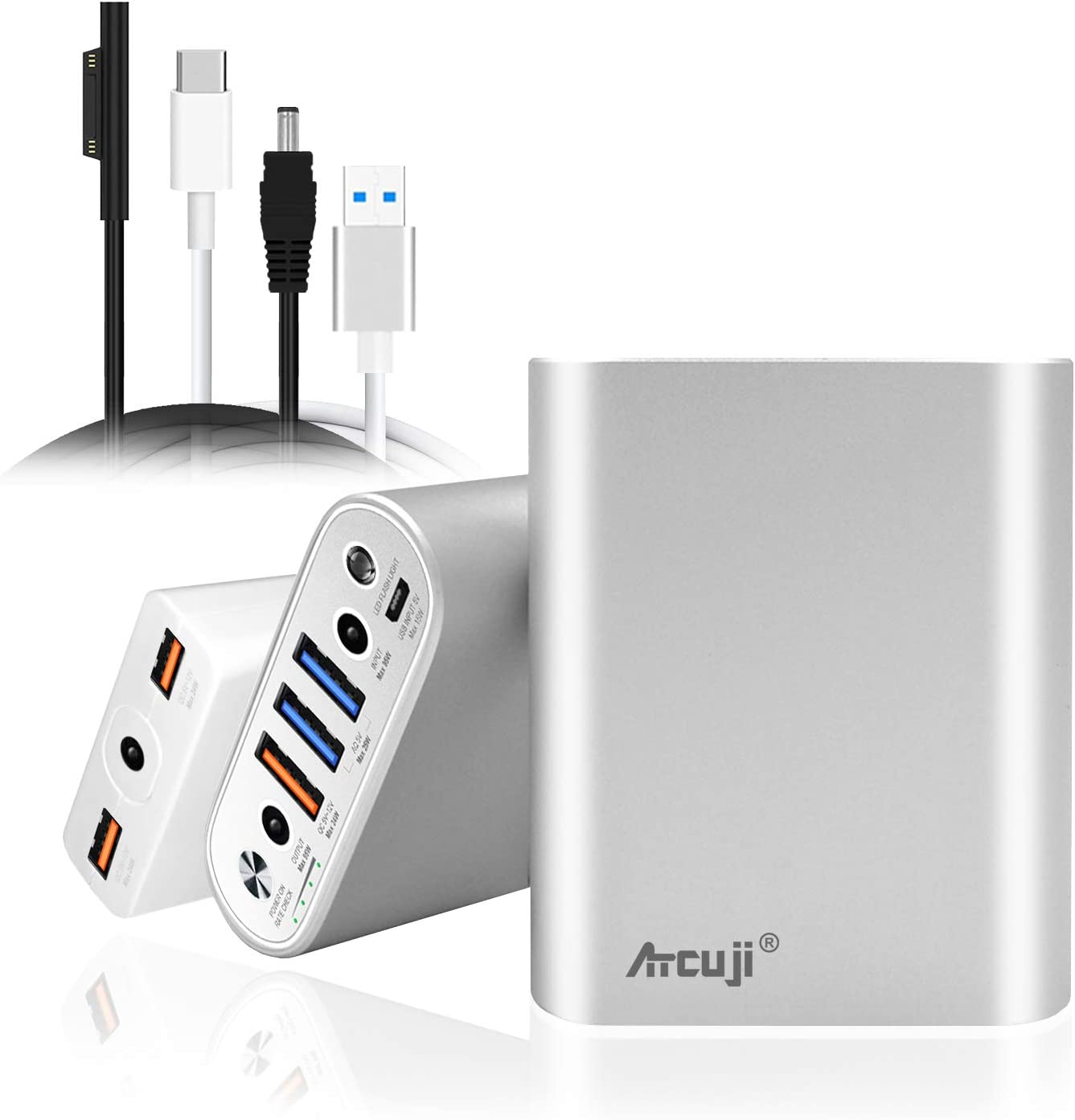 Atcuji 15000mAh Surface Laptop Portable Charger + Slim Adapter 140W Power Delivery for Micorsoft Surface Pro X 7 6 5 4 3 2 Power Bank Surface Book iPhone iPad External Battery Samsung Galaxy Pixel
