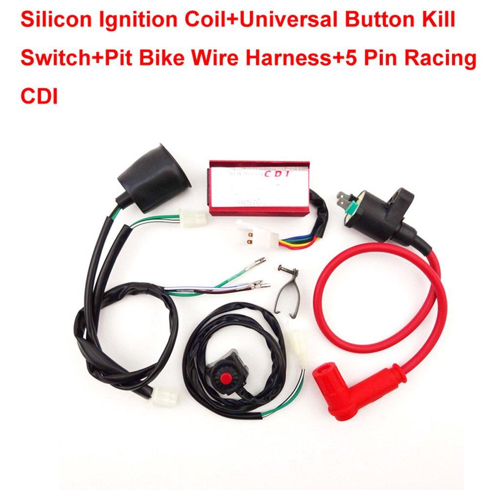Xljoy Racing Ignition Coil Cdi Wiring Loom Kill Switch For 50 160cc Ssr Ycf Pit Dirt Bike Automotive