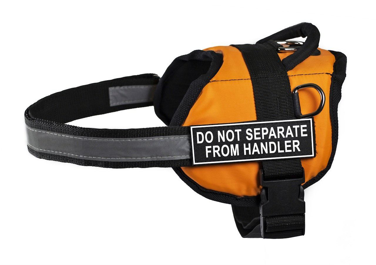 Dean & Tyler 18 to 21-Inch Do Not Separate from Handler Works Harness, XX-Small, orange Black