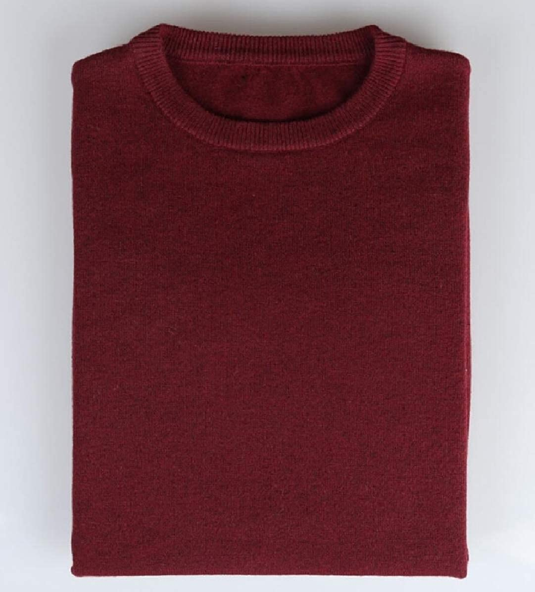 YIhujiuben Mens Round Neck Solid Color Lightweight Knitted Pullover Sweaters