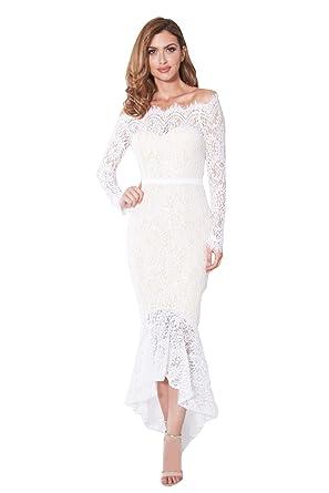 Robe Asymétrique Femme Soiree avec Manche Longue Habille en Dentelle pour  mariage Cocktail Cérémonie Mode Tunique abaa1cf76410