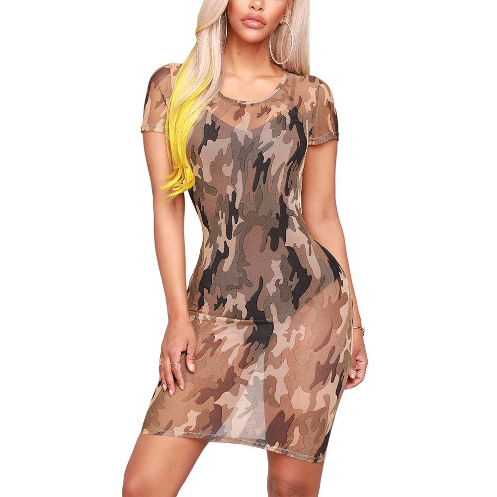 VANCOL Women Summer Mesh See Through Sheer Sexy Camouflage Dress T Shirt Dress Mini Bodycon Night Club Beach Dress