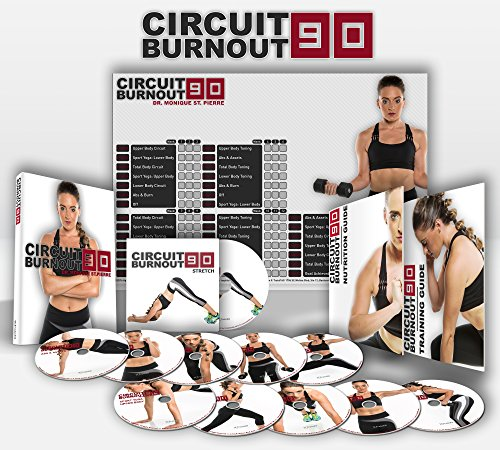 CIRCUIT BURNOUT 90: 90 Day DVD Workout Program with 10+1 Exercise Videos + Training Calendar, Fitness Tracker &Training Guide and Nutrition Plan (30 Minute Cardio Workout At Home No Equipment)