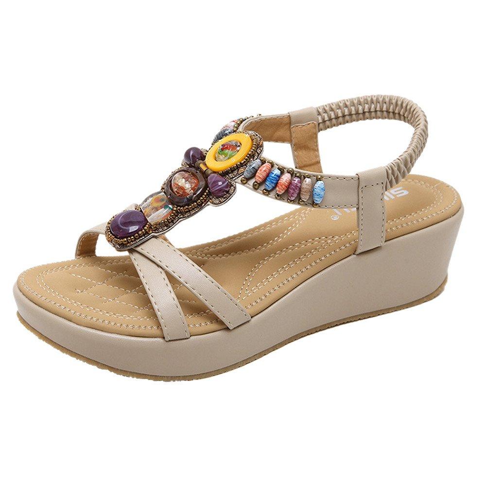 Sandales Femme,Mode Femmes Sandales Eté Bohême Chaussures Compensées Fille Perle Sandale Talon Moyen,Chaussures de Travail
